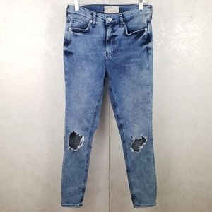 Free People Distressed High Waisted Skinny Jeans